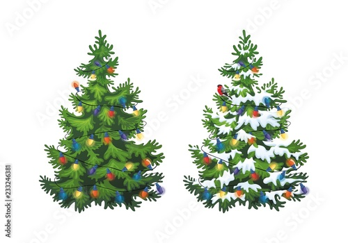 Vector Illustration Of Decorated Christmas Tree In Snow On