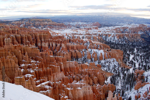 Dramatic landscape of Bryce Canyon National Park in Utah in winter with snow