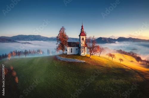 Foto op Aluminium Europese Plekken Aerial view of Saint Tomas church, Slovenia.