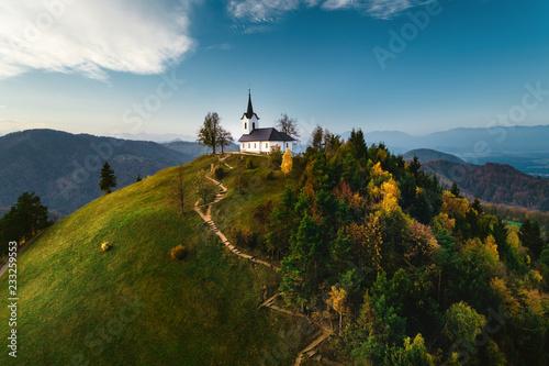 St. Jacob church near Medvode, aerial drone view. Sv. Jakob - Slovenia