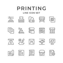 Set Line Icons Of Print