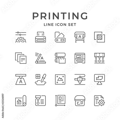 Set line icons of print Wall mural