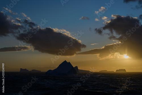 Antarctic landscape in sunset