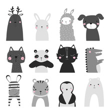 Black And White Set Of Cute An...