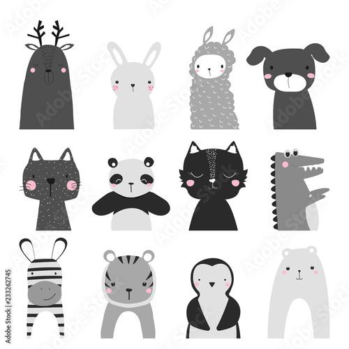 Fotografía  Black and white set of cute animals