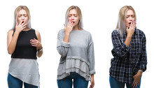 Collage Of Beautiful Blonde Young Woman Over Isolated Background Bored Yawning Tired Covering Mouth With Hand. Restless And Sleepiness.