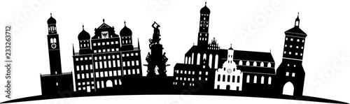 Augsburg skyline detailliert gebogen // Vektor Wallpaper Mural