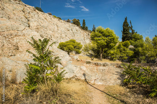 tropic park outdoor nature environment highland landscape surrounded dry rock in warm colorful clear summer day time
