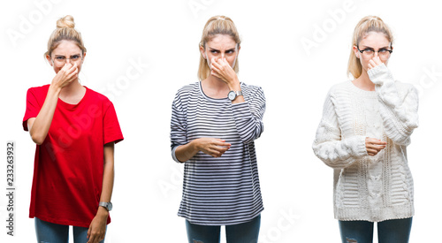 Fotografie, Tablou  Collage of young beautiful blonde woman over isolated background smelling something stinky and disgusting, intolerable smell, holding breath with fingers on nose