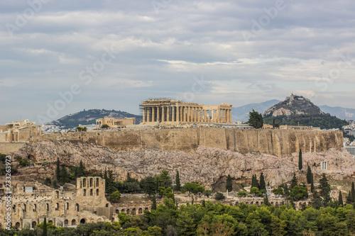 Printed kitchen splashbacks Athens Ancient temple Parthenon in ruins of Acropolis on rock surrounded Athens - capital of Greece landmark