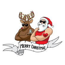Cartoon Santa Claus And Reindeer Muscle Man With Naughty And Nice Tattoos. Eps10 Vector Illustration.