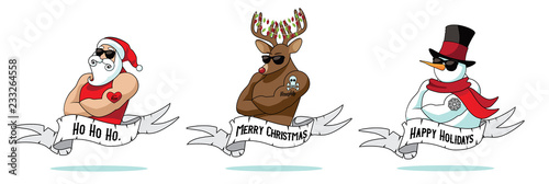 Foto Cartoon Christmas tattoo collection with Santa Claus, reindeer and snowman with naughty and nice tattoos