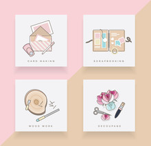 Line Art Icon Set Depicting Card Making, Scrapbooking, Wood Work And Decoupage