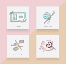 Set Of Four Icons Depicting Sewing, Crochet, Knitting And Quilting In Top View Perspective