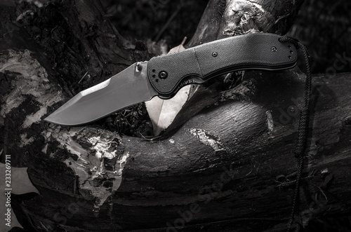 Black and white photo of a knife in nature. Knife and old wooden stump.