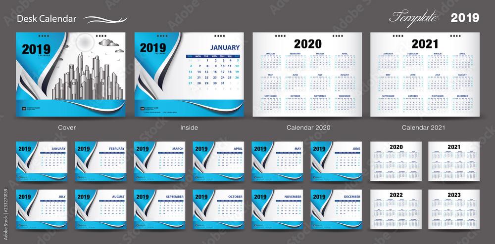 Photo Art Print Set Desk Calendar 2019 Template Design Vector