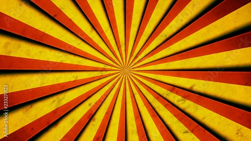 Valokuva  Red and yellow stripes, with shadows, converging and forming a circle