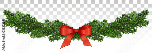 Fototapeta Magnificent pine garland with a red bow. Christmas design. vector .eps10. obraz