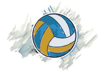 Volleyball ball with a watercolor effect. Vector illustration.