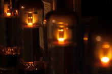 Glowing Electronic Tube In Amplifier