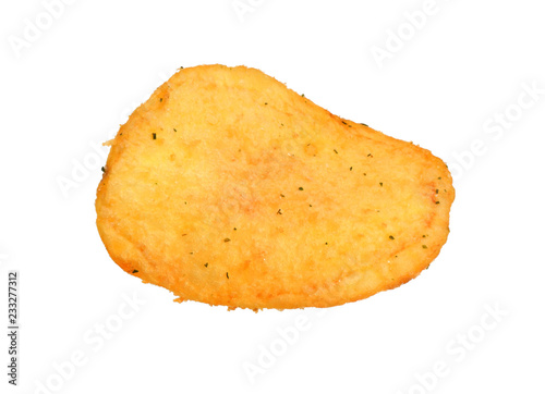 Foto op Canvas Aromatische Potato chips close-up isolated white background. Full depth of field