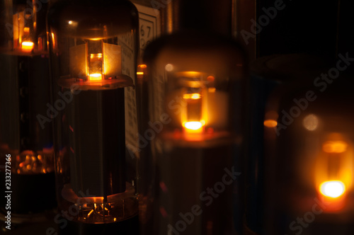 glowing electronic tube in amplifier Poster Mural XXL