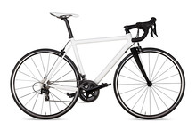 White Black Racing Sport Road Bike Bicycle Racer Isolated  Background