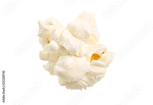 Foto op Plexiglas Kruiderij Popcorn isolated on a white background. Full depth of field