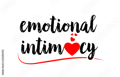 emotional intimacy word text typography design logo icon with red love heart Wallpaper Mural