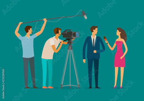 Staande foto Wanddecoratie met eigen foto Reportage, television concept. Crew or journalist take interview. Cartoon vector illustration