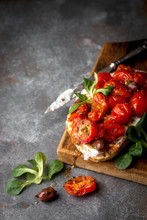 Tomato Sourdough Sandwich With Ricotta And Olives