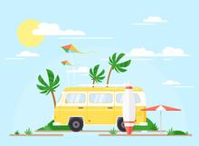 Vector Illustration Of Surfing...