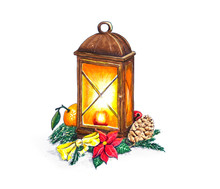 Hand Sketched Christmas Lantern On White Background