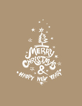 Merry Christmas & Happy New Year! Christmas Tree And Stars. White Stamp Vector Template For The New Year Design.