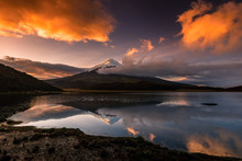 The Vulcano Cotopaxi With Snow...