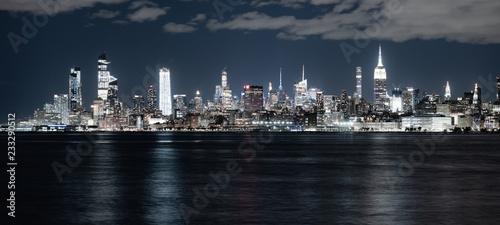 Photo Night Landscape River Reflection New York City Skyline Empire State Building
