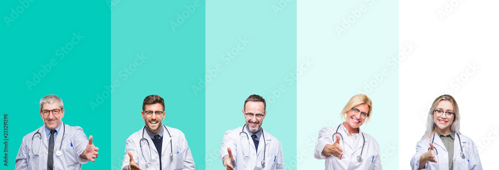 Fototapeta Collage of group of doctor people wearing stethoscope over colorful isolated background smiling friendly offering handshake as greeting and welcoming. Successful business.