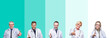 canvas print picture - Collage of group of doctor people wearing stethoscope over colorful isolated background smiling friendly offering handshake as greeting and welcoming. Successful business.