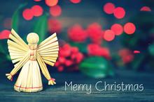Christmas Card With Handmade Christmas Angel Straw Ornament