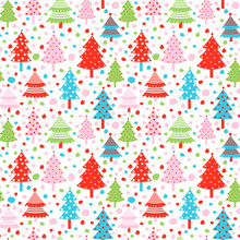 Seamless Vector Pattern With Christmas Tree In Pink, Blue And Red Color