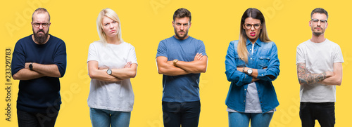 Cuadros en Lienzo Collage of group people, women and men over colorful yellow isolated background skeptic and nervous, disapproving expression on face with crossed arms