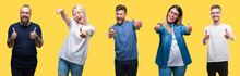 Collage Of Group People, Women And Men Over Colorful Yellow Isolated Background Approving Doing Positive Gesture With Hand, Thumbs Up Smiling And Happy For Success. Looking At The Camera