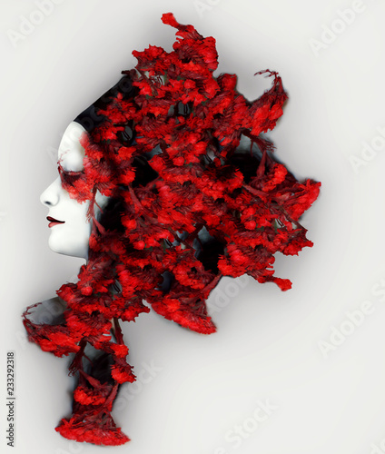 Beautiful artistic female profile with an extravagant vivid red color headdress