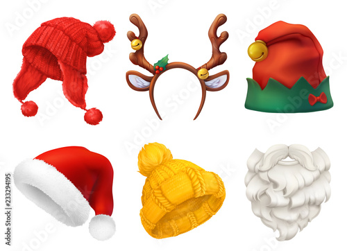 Fototapeta Christmas mask, Santa Claus hat, knitted hat. 3d realistic vector icon set obraz