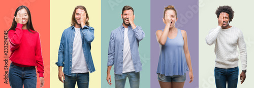 Photo Composition of african american, hispanic and chinese group of people over vintage color background covering one eye with hand with confident smile on face and surprise emotion