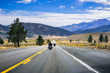 Travelling On Highway 395 On A Sunny Autumn Day, Eastern Sierra Mountains, California
