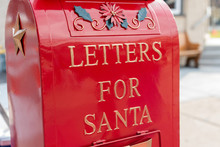 Bright Shiny Red Mailbox For Letters For Santa