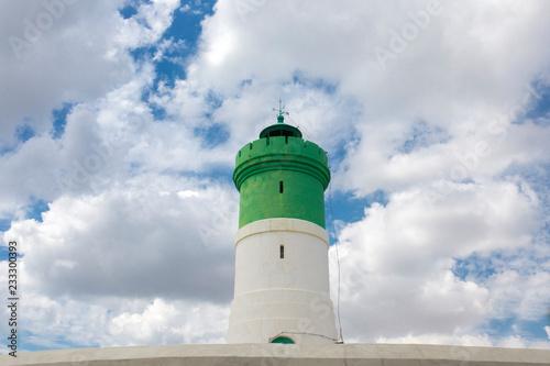 Montage in der Fensternische Leuchtturm Curra green lighthouse of Cartagena, Spain