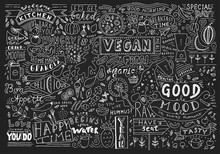 Chalkboard Kitchen Art, Blackboard Lettering Wall Art, Kitchen Chalkboard Sign. Cafe Template Design. Restaurant Wall Typography.