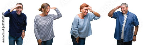 Collage of group of elegant middle age and senior people over isolated background very happy and smiling looking far away with hand over head. Searching concept.